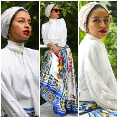 floral-skirt-with-hijab-500x500 Hijab with Floral Outfits-20 Ways to Wear Hijab with Florals