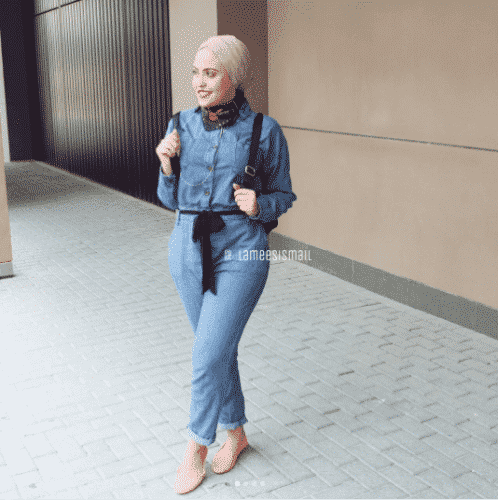 hijab-with-denim-jumpsuit-498x500 Hijab with Jumpsuits - 16 Ways to Wear Jumpsuit with Hijab