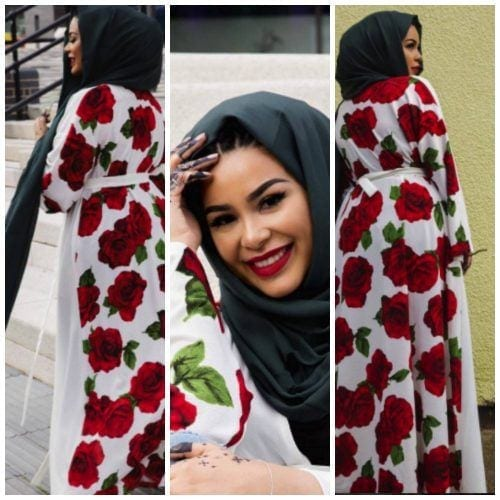 hijab-with-floral-abayas-500x500 Hijab with Floral Outfits-20 Ways to Wear Hijab with Florals