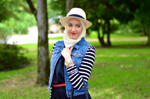 hijab-with-hat-and-jumpsuit-500x330 Hijab with Jumpsuits - 16 Ways to Wear Jumpsuit with Hijab