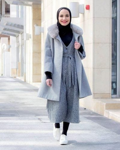 hijab-with-jumpsuit-for-winters-400x500 Hijab with Jumpsuits - 16 Ways to Wear Jumpsuit with Hijab