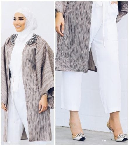 white-jumpsuit-with-hijab-1-442x500 Hijab with Jumpsuits - 16 Ways to Wear Jumpsuit with Hijab