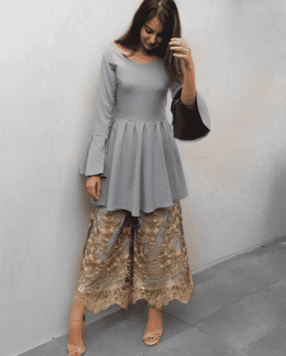 gharara-pants-with-peplum-402x500 Gharara Pant Outfits-20 Beautiful Outfits with Gharara Pants