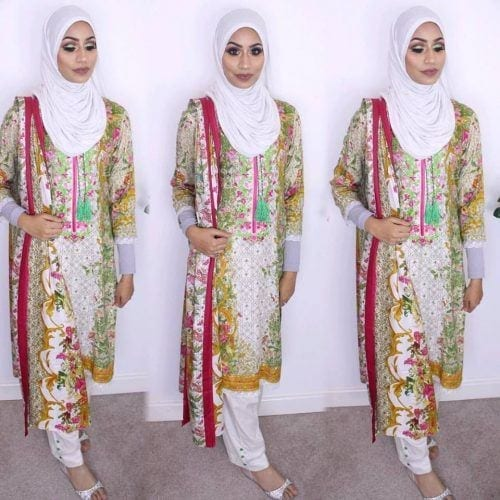 lawn-shalwar-kameez-with-hijab-500x500 21 Best Ways to Wear Hijab with Shalwar Kameez Elegantly