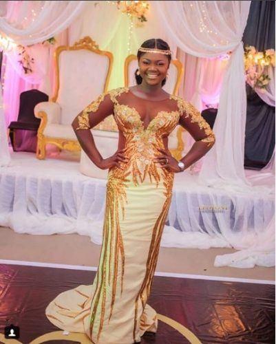 gold-embellished-dress-401x500 30 Latest Nigerian Dresses for Nigerian Brides 2019