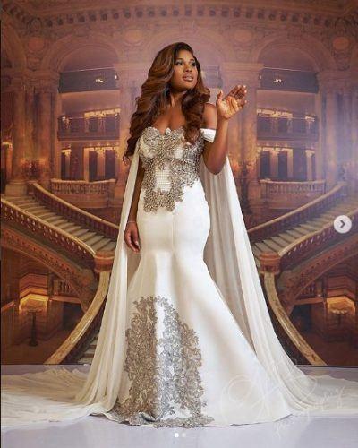 graceful-off-shoulder-dress-400x500 30 Latest Nigerian Dresses for Nigerian Brides 2019