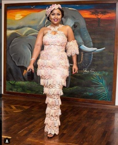 ivory-fringed-dress-408x500 30 Latest Nigerian Dresses for Nigerian Brides 2019