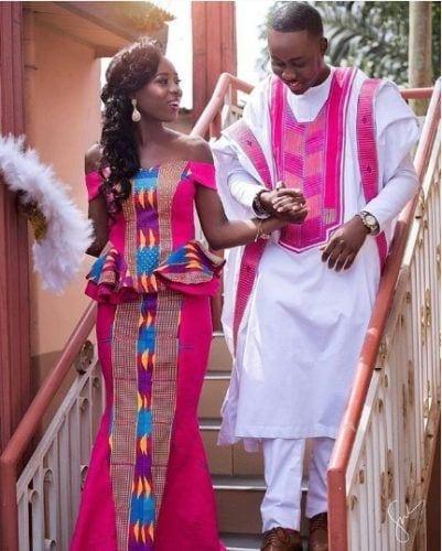 kente-style-fuschia-401x500 30 Latest Nigerian Dresses for Nigerian Brides 2019
