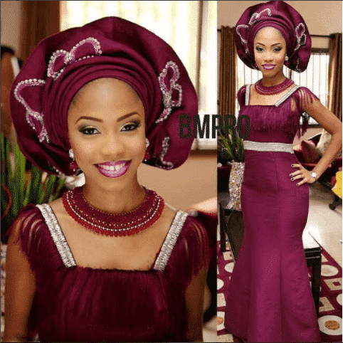 plum-minimalist-gown-with-rubies 30 Latest Nigerian Dresses for Nigerian Brides 2019