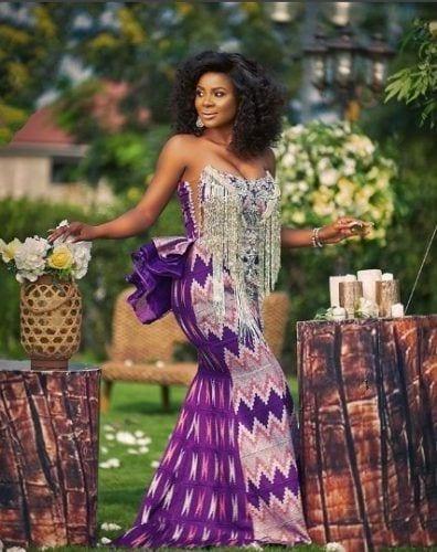 strapless-purple-ankara-396x500 30 Latest Nigerian Dresses for Nigerian Brides 2019
