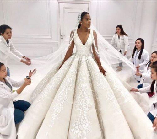 white-swarovskis-500x443 30 Latest Nigerian Dresses for Nigerian Brides 2019
