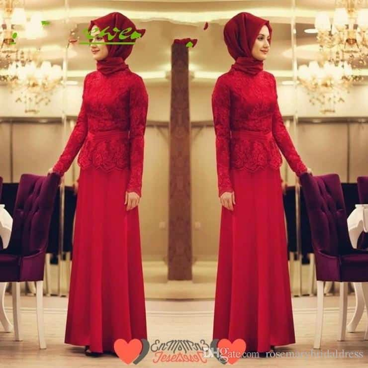 all-red-style-gown How to Wear Hijab with Gowns ? 20 Modest Ways to Try