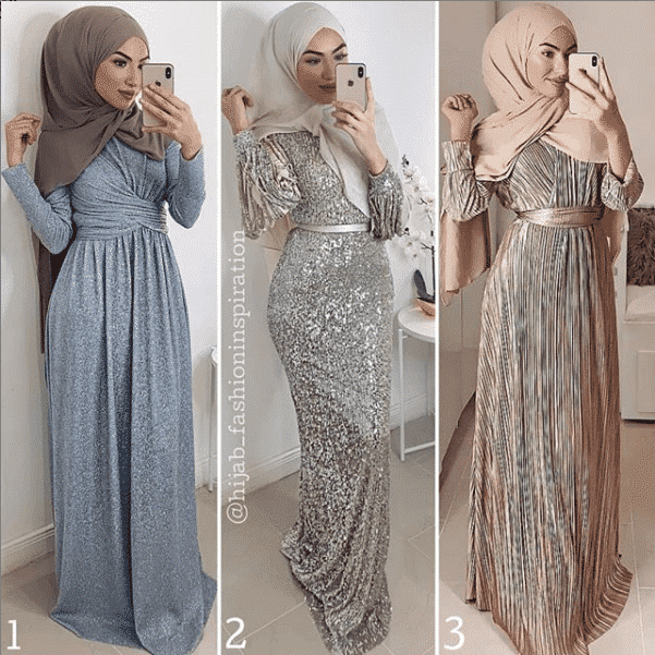 glittery-skiiny-fit-gowns-with-hijab How to Wear Hijab with Gowns? 30 Modest Ways to Try Now