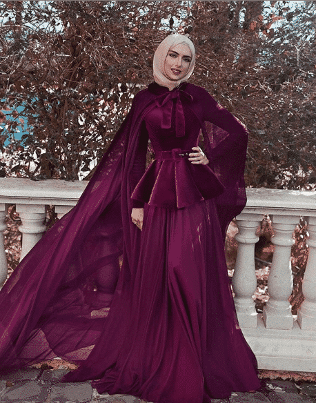 ultra-modern-gown-with-velvet-jacket How to Wear Hijab with Gowns? 30 Modest Ways to Try Now