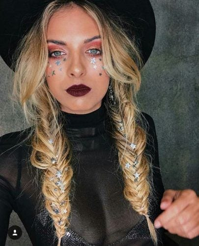 fishtail-braids-and-burning-man-makeup--405x500 6 Whimsical Festival Hair and Makeup Trends