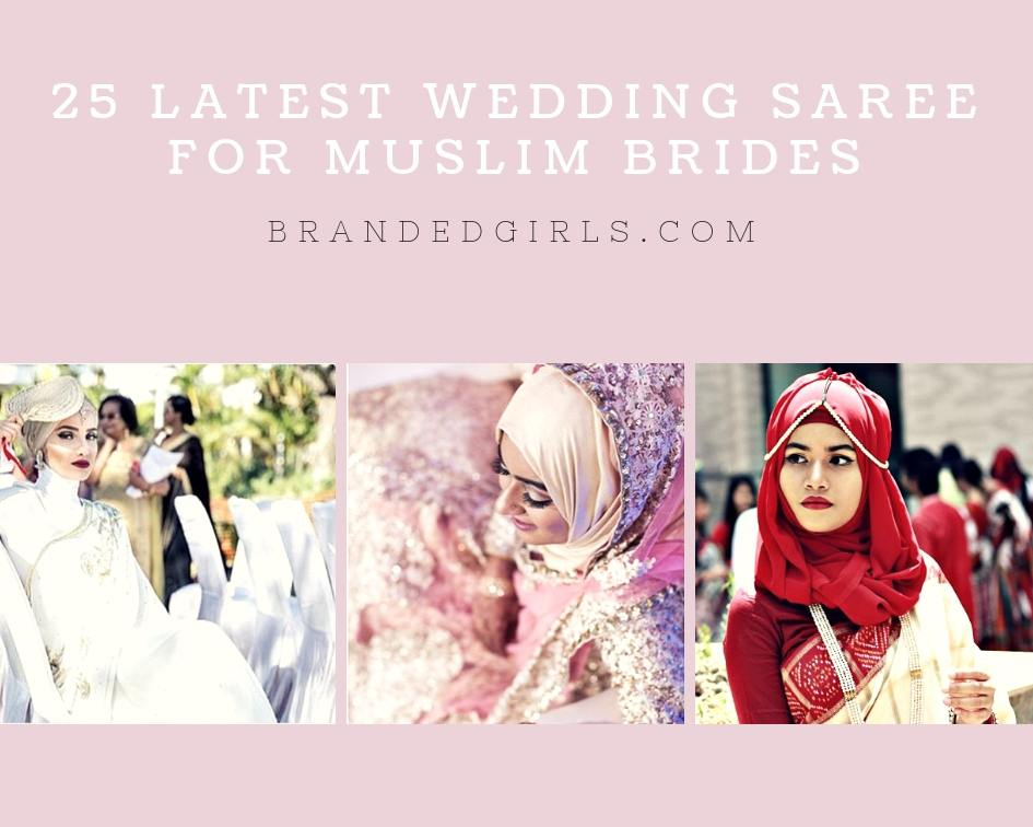 Saree-and-Hijab 25 Latest Wedding Saree Designs & Ideas for Muslim Brides