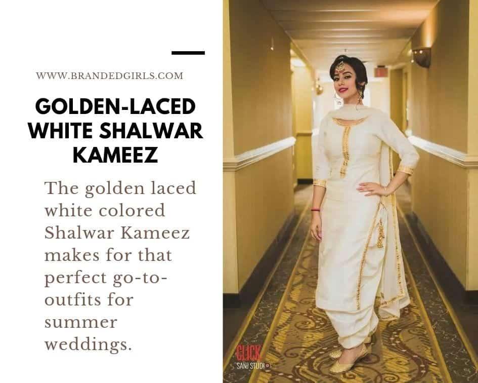 Golden-Shalwar-Kameez 30 Ideas On How To Wear White Shalwar Kameez For Women