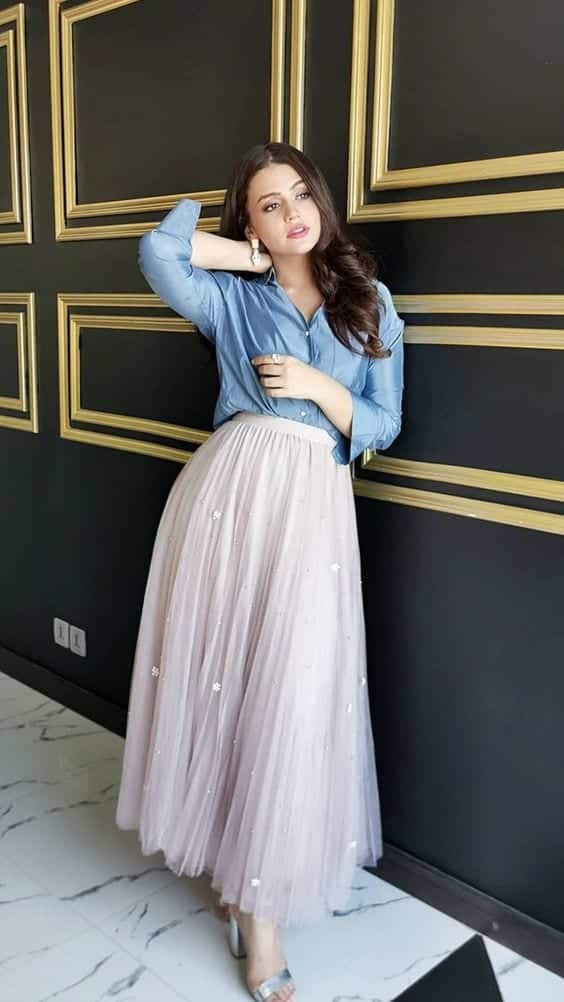 Tulle-skirt-outfit- 18 Birthday Outfits For Pakistani Girls-Party Wear Ideas 2019